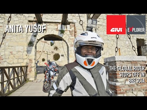 The Global Rider Anita Yusof stops off in Brescia, visit the GIVI Headquarters and the historic sites of the city