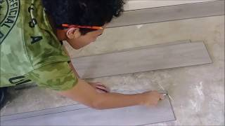 How To Cut and Install Vinyl Plank flooring using Utility Knife - Quick and Simple