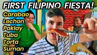 My FIRST Filipino FIESTA! Eating FILIPINO FOOD with Locals in BOHOL!