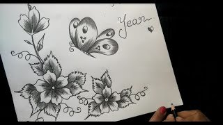 How To Make Greeting Card With Pencil Sketch |version 2