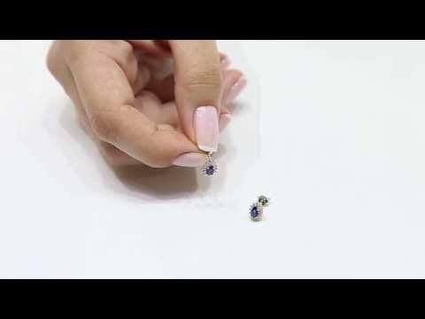 Saphir Sapphire Diamant Diamond 18k 750er Gold Ohrring Earring