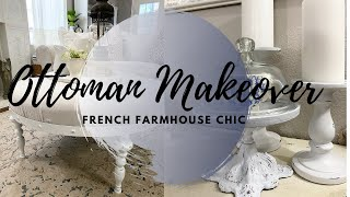 DIY OTTOMAN MAKEOVER   FARMHOUSE CHIC DECOR   HOW TO DISTRESS FURNITURE THE EASY WAY    MONICA ROSE