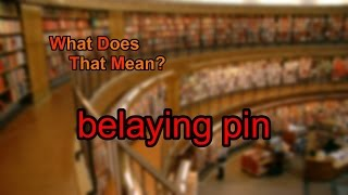 What does belaying pin mean?