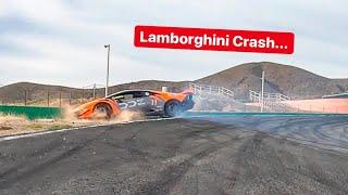 CRASHING MY LAMBORGHINI INTO WALL AT RACETRACK *NO INSURANCE*