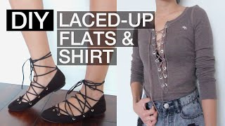 DIY Lace-Up Flats And Shirt (No Sew/Easy)   Beautybitten