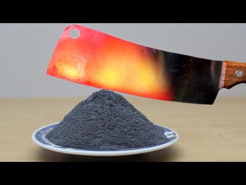 EXPERIMENT Glowing 1000 degree MEAT CHOPPER vs GUNPOWDER (100 Grams)