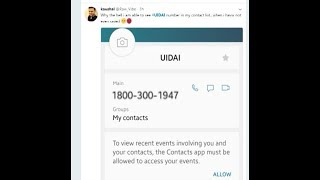 People clueless as Aadhaar toll free number automatically enters their phone's contact list