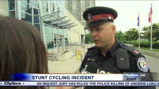 Cyclist facing possible charges for one-wheel stunt