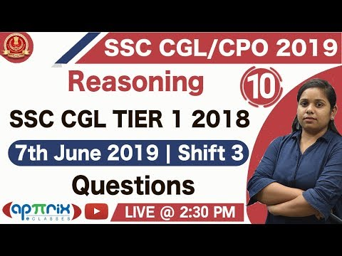 2:30 PM | SSC CGL/CPO 2019 | Previous Year Paper Question Discussion | Reasoning | Roopa Ma'am | 10