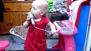 Amy May age 13 months sings Somewhere Over The Rainbow for IZ Israel