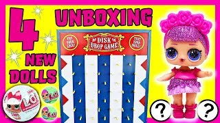LOL Surprise Dolls Unboxing Disk Drop Game! Featuring Sugar Queen, Curious QT, and Honeybun!