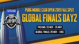 [EN] PMCO Global Finals Day 2 | Vivo | Fall Split | PUBG MOBILE CLUB OPEN 2019