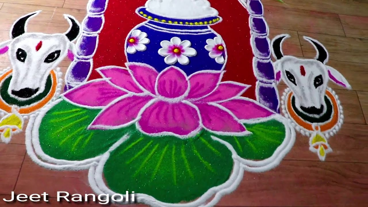 hindu festival rangoli design for makkar sankranti by jeet