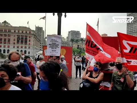 Cancela essa Reforma já: ato em frente à Prefeitura contra a PEC 32 e pela Campanha Salarial 2021