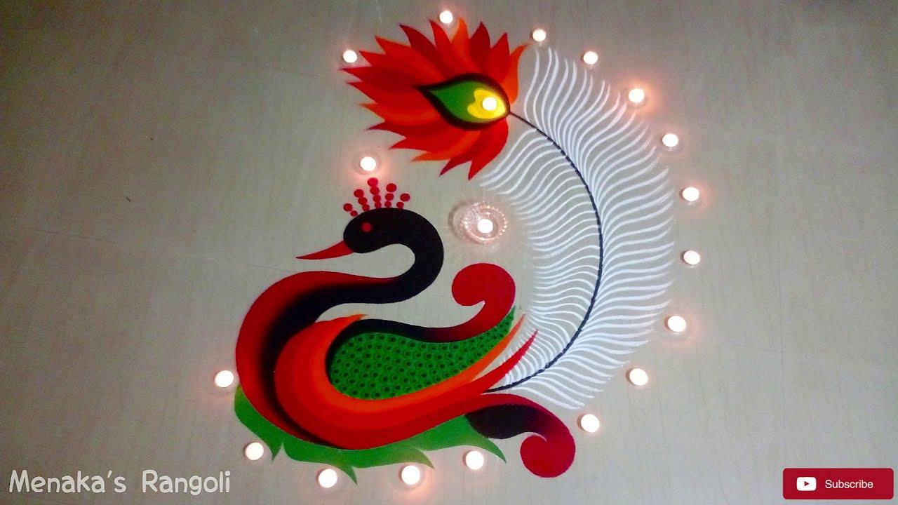 peacock rangoli design for festivals by pakka local