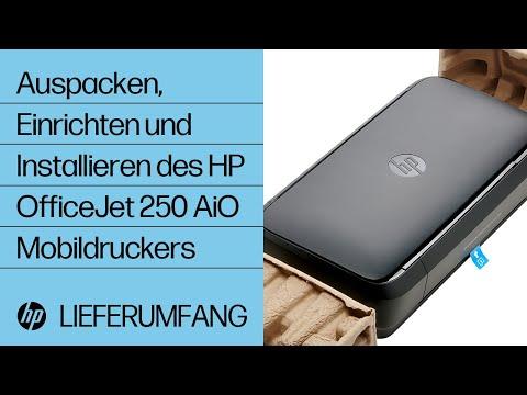 Auspacken, Einrichten und Installieren des HP OfficeJet 250 All-in-One Mobildruckers