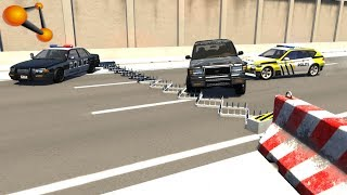 BeamNG.drive - Spike Strip Police Chases and Crashes
