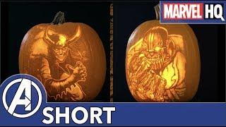 Loki & Thanos Get Carved Into A Pumpkin! | Marvel Pumpkin Carving | Halloween Special