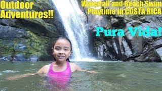 Family Outdoor Water Adventures! WATERFALL Swim and BEACH Playtime in Costa Rica. Hulyan and Maya