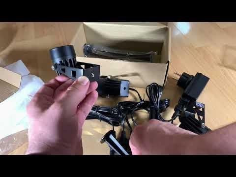 4 in 1 Gartenleuchte, Kohree IP65 Wasserdicht LED Gartenstrahler Gartenlampe unboxing und Anleitung