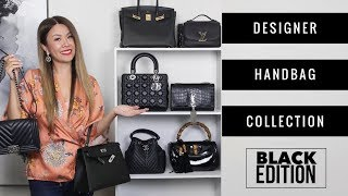ENTIRE DESIGNER BAG COLLECTION - BLACK ED 🖤 + MOD SHOTS | Chanel, LV, Hermes, Gucci, Dior, YSL