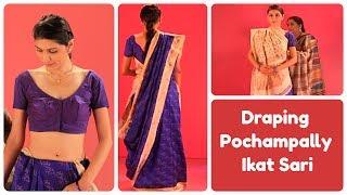 How to wear a Pochampally sari in Gujarati Style?