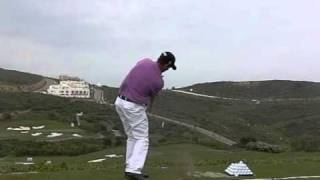 Anders Hansen - Golf Swing with Iron, Slow motion (Down the Line)