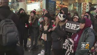 BTS Superfans Join NYE Crowd Tonight In Times Square