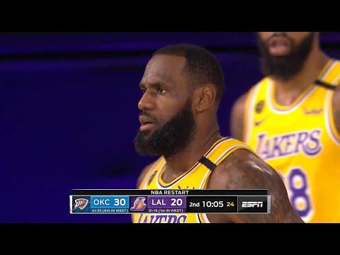 LAKERS vs THUNDER – 1st Half Highlights   NBA Restart