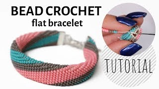 Single Bead Crochet Flat Bracelet Tutorial | Bracelet Tutorial | Bead Crochet Tutorial