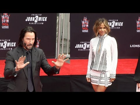 Keanu Reeves Handprint Ceremony with Halle Berry, Asia Kate Dillon UNEDITED