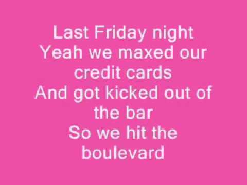 Katy Perry Last Friday Night Lyrics