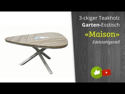 3eck Teakholz-Gartentisch «Maison» mit Edelstahl-Gestell