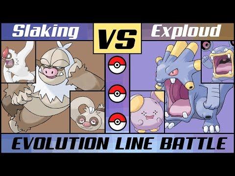 SLAKING vs. EXPLOUD! Hoenn Normal Evolution Battle (Pokémon Sun/Moon)