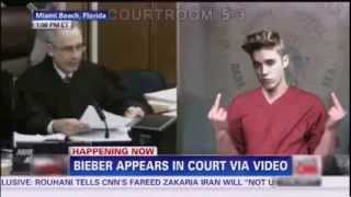 Mix - Justin Bieber Court Video shows. burns and throw money, and flip the double bird to the judge
