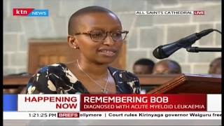 Bob Collymore's wife gives a touching tribute during his memorial