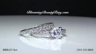Petite Bridal Rings Set By BloomingBeautyRing.com #BBR457-Set