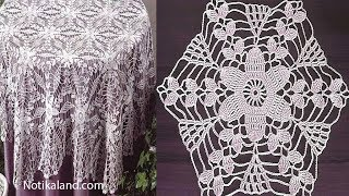 Crochet Motif Patterns For Tablecloth Part 4 How To Crochet Tablecloth Diy Crochet Tablecloth