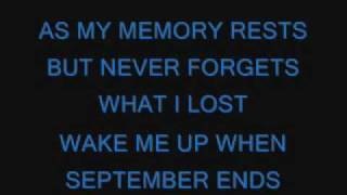 Green Day-wake Me Up When September Ends S
