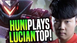 Huni Goes Crazy And Pick His Favourite Champ Lucian Toplane! - SKT T1 Huni Plays Lucian Top Again!