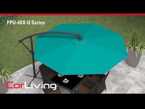 Video for Warm White Offset Outdoor Patio Umbrella