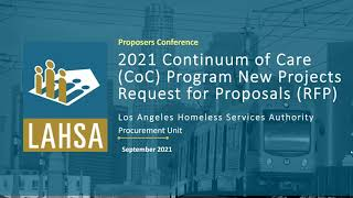 2021 CoC Program New Projects RFP Proposers Conference Webinar Recording