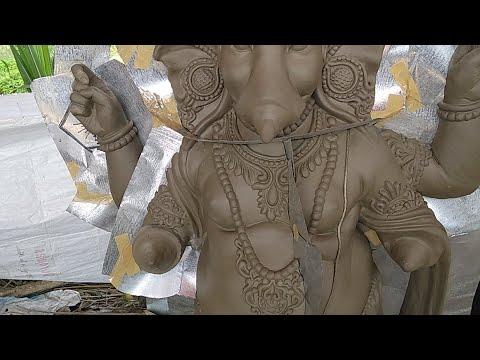 How to make Eco Friendly Mud / Clay Ganesha Idol with Fiber