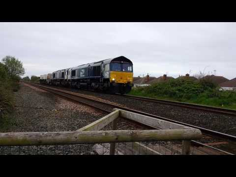 DRS 66431 & 66302 pass Prestatyn with nuclear flasks 19th Ap…