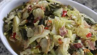 How to Cook Cabbage with Smoked Bacon / easy soul food recipe