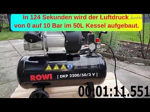 ROWI DKP 2200 50 3 V Luftkompressor - Aufbau und erste Inbetriebnahme