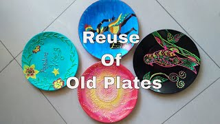Old Plate 3-4 Painting || Reuse Of Old Plates || Best Out Of Waste