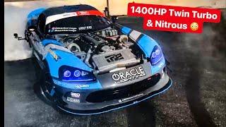 WORLDS FIRST TWIN TURBO NITROUS DODGE VIPER DRIFT CAR! *1400 HP*
