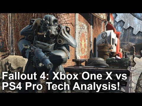 [4K] Fallout 4: Xbox One X vs PS4 Pro Graphics Comparison + Frame-Rate Test