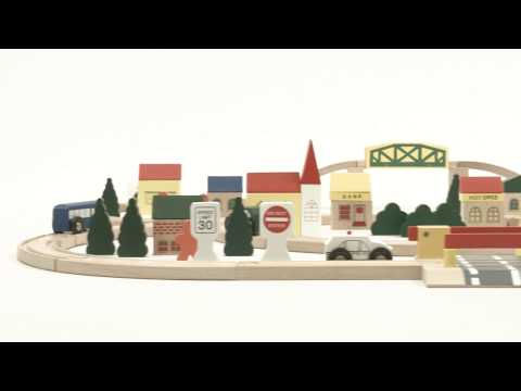 SKY2133 100pc Hand Crafted Wooden Train Set